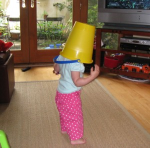Sure, it's cute now. But we all know that the bucket is the gateway headgear to the lampshade.