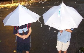 My friend Paula accidentally wound up with one of our Hershey Kiss umbrellas at a U2 concert. Loser.