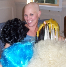 A heart-tugging photo of the author, bald from chemo.