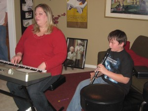 After Robin's husband, Mark, treated us to a wonderful halibut dinner, we enjoyed some musical entertainment starring their son Garrett on the clarinet.