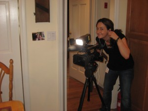 The Today Show's Michelle Fanucci and the photo on the wall I was talking through during the interview.
