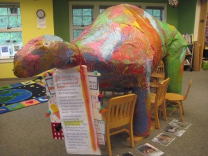 Paper Mache dinosaur at Kinnelon Library